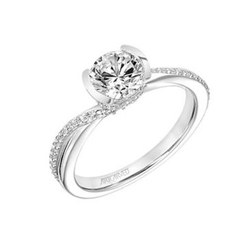 ArtCarved 18k White Gold Diamond Bypass Engagement Ring