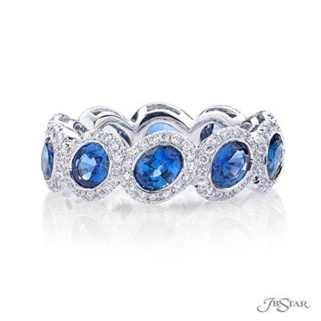 JB Star Platinum Sapphire and Diamond Wedding Band
