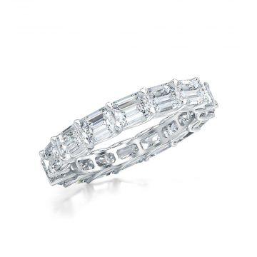 Estenza Lab Created 14k White Gold White Diamond Eternity Wedding  Band