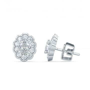 Estenza Lab Created 14k White Gold White Stud Earrings