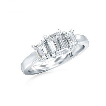 Estenza Lab Created 14k White Gold  Diamond 3 Stone Engagement Ring