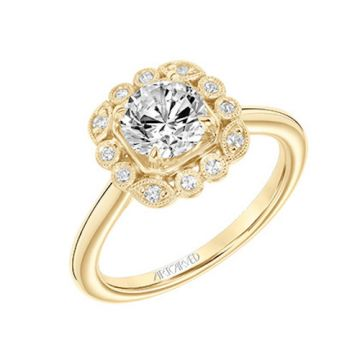 ArtCarved 18k Yellow Gold Diamond Halo Engagement Ring