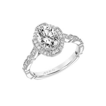 ArtCarved 18k White Gold Diamond Halo Engagement Ring