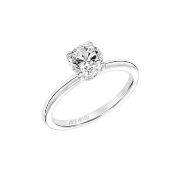 ArtCarved 18k White Gold Diamond Solitaire Engagement Ring