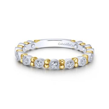 Gabriel & Co. 14k White and Yellow Gold Stackable Diamond Ring