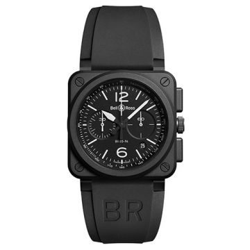 Bell and Ross Chronograph BR03-94 Black Matte Ceramic Black Stainless Steel Men's Watch