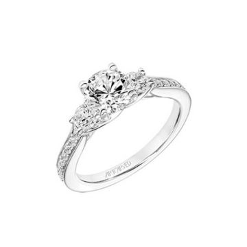 ArtCarved 18k White Gold Diamond 3 Stone Engagement Ring