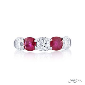 JB Star Platinum Ruby and Diamond Wedding Band