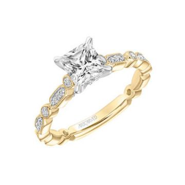 ArtCarved 18k Yellow Gold Diamond Straight Engagement Ring