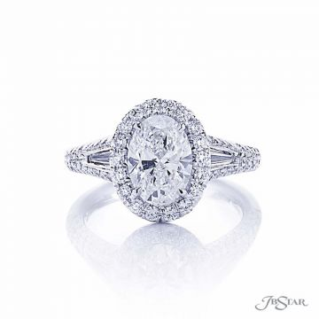 JB Star Oval Diamond Halo Engagement Ring