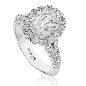 Christopher Designs  18k Multi-Tone Gold Diamond Halo Engagement Ring