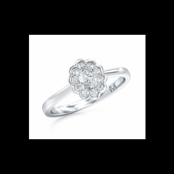 Estenza Lab Created 14k White Gold  Diamond Halo Engagement Ring