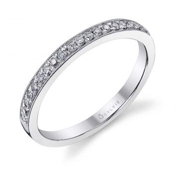 Sylvie 14k White Gold Wedding Band