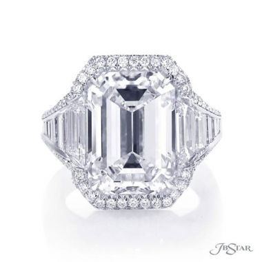 JB Star Platinum Diamond Engagement Ring With Baguettes - 7061-029