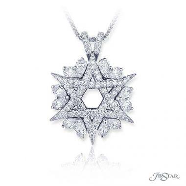 JB Star Platinum Diamond Star of David Pendant - 5170-001