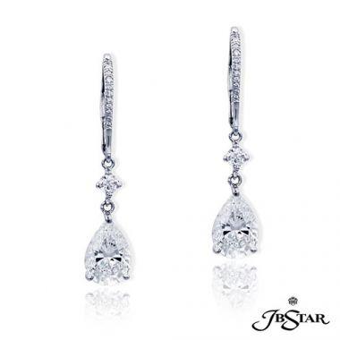 JB Star Platinum Diamond Drop Earrings - 4905-041