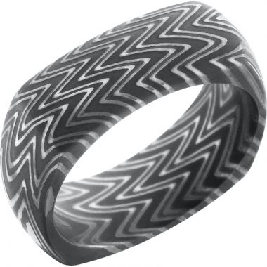 Lashbrook Black & White Damascus Steel 8mm Men's Wedding Band