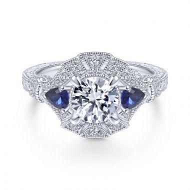 Gabriel & Co. 14k White Gold Art Deco 3 Stone Diamond & Gemstone Halo Engagement Ring
