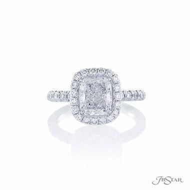 JB Star Platinum Halo Engagement Ring
