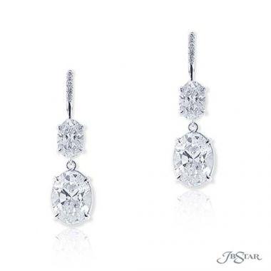 JB Star Platinum Diamond Drop Earrings - 1199-054