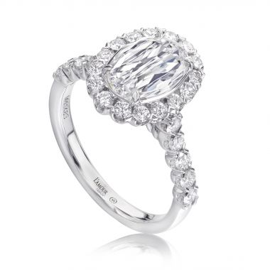 Christopher Designs LAmour Crisscut Oval Diamond Halo Engagement Ring