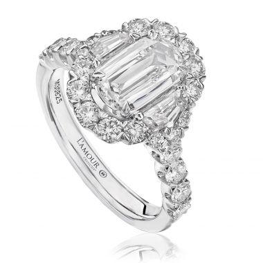 Christopher Designs Crisscut Diamond Halo Engagement Ring