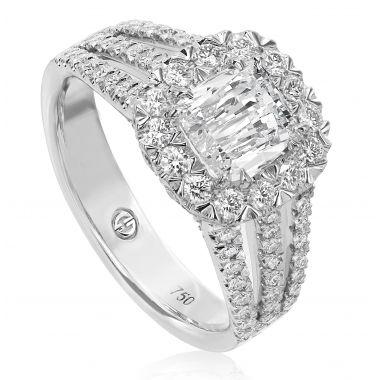 Christopher Designs  Cushion Cut Diamond Halo Engagement Ring